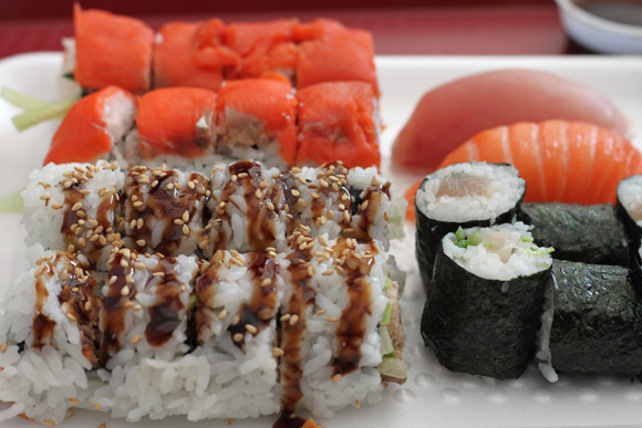 Smoked Salmon Roll, BC Roll, Tuna Roll, and Salmon & Tuna Nigiri