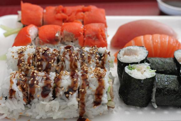 Smoked Salmon Roll, BC Roll, Tuna Roll, and Salmon & Tuna Nigiri