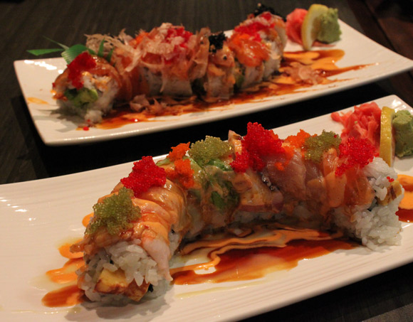 Fancy rolls: the Rainbow Roll in the front and the Red Dragon Roll in the back