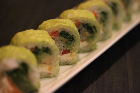A Vegetarian's Dream: The Ever Green Roll (cream cheese, mango, carrot, cucumber, avocado inside and wrapped with soy bean paper)