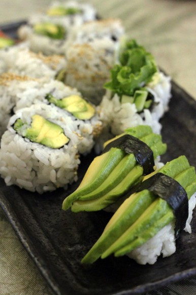 Vegetarian sushi with lots of Avocado