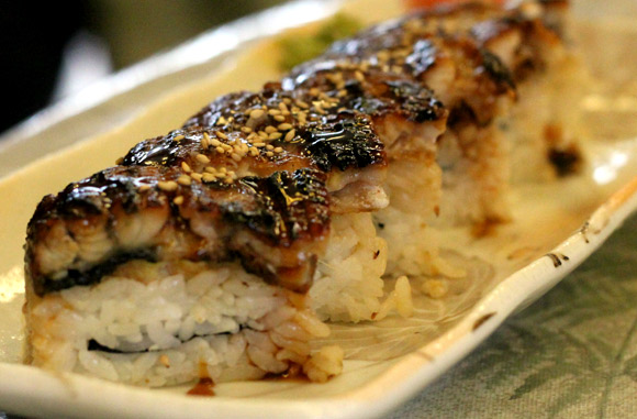 Unagi tops the Pressed Sushi