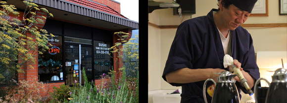 Left: Exterior of Sushi Bar Kilala, Right: The chef uses a torch to put the finishing touches on our sushi