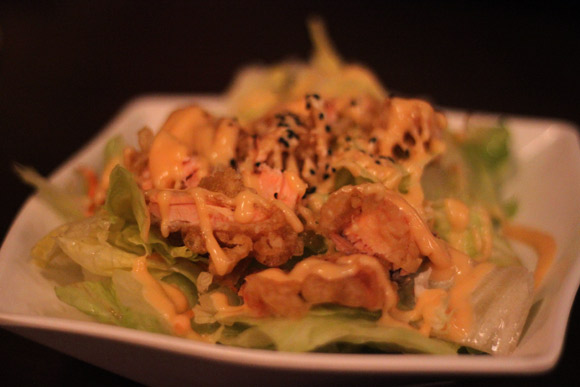Salmon Tempura Salad at Tomoya Sushi