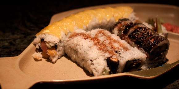 Special Rolls at Little Tokyo's Sushi. Top left: Golden Roll (with orange on top), Far right: Cobra Roll, Bottom: BC Roll