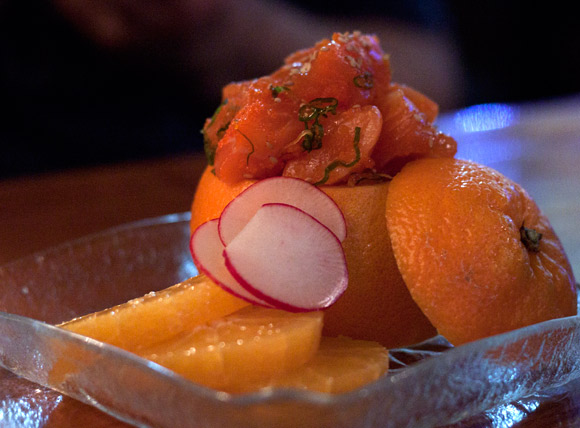 Moto Orange - An orange full of sashimi