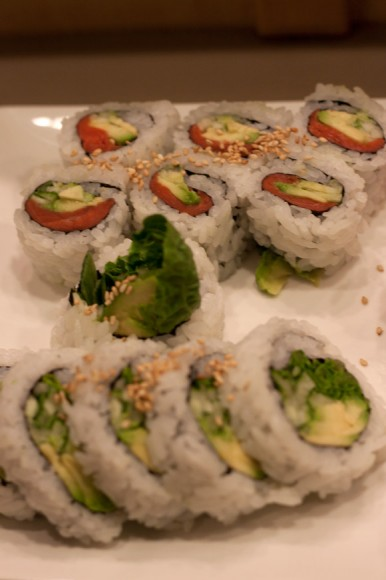 Smoked Salmon Roll and Green Veggie Roll at Town Centre Sushi
