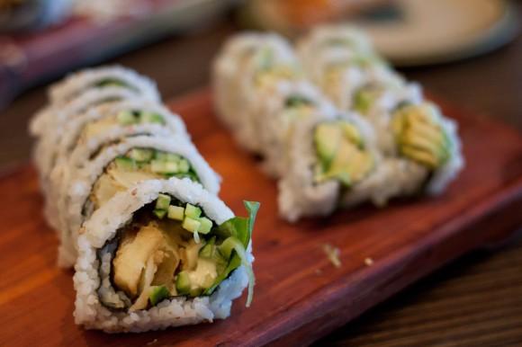 Yam Tempura Roll and Avocado Roll at Sushi Garden