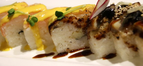 BBQ Eel and Ebi Battera (pressed sushi) at Y Sushi